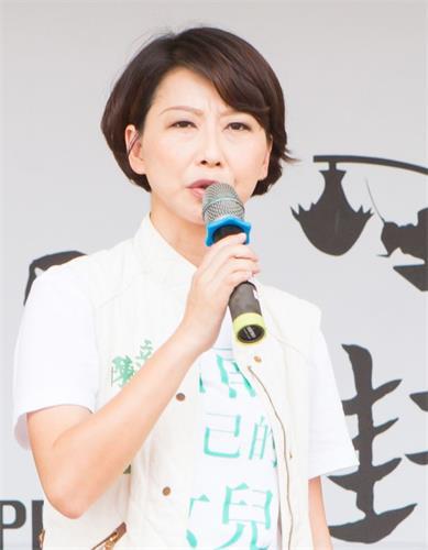 '图3:台湾立委陈亭妃祝法轮功创始人李洪志先生及法轮功学员中秋快乐。'