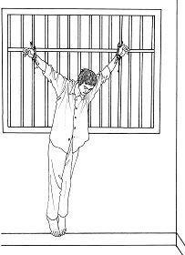 '中共酷刑示意图:吊铐'