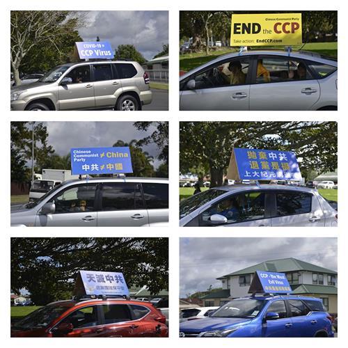 '图2:汽车在奥克兰南区主要街道游行,传播真相。'