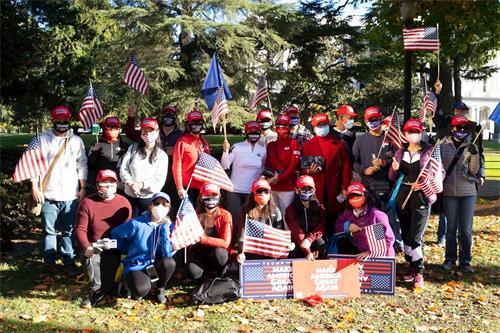 '图1~4:二零二零年十一月十四日,数百名民众在美国加州首府沙加缅度集会,支持美国总统川普连任。'