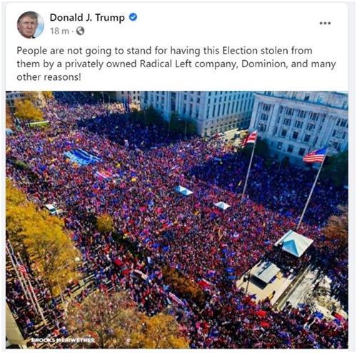 '图1:美国总统川普在其社交媒体帖文配图,展现2020年11月14日华盛顿DC集会游行现场的人山人海。他在帖文中说:人民不会坐视大选结果,被私人拥有的激进左派公司Dominion及很多其它原因,从他们手中窃走。'