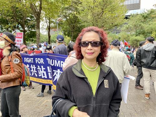"""图5:台湾青年反共救国团理事长杨月清指出中共的野心""""不只是要并吞香港、台湾,它是要并吞全世界""""。"""