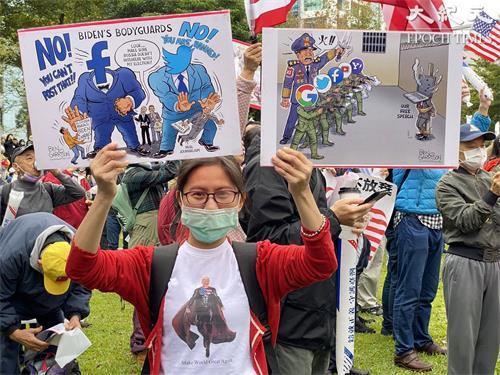 图14:高雄李小姐自制T恤与自印漫画响应挺川灭共活动,她说,超人救民于水火,川普在她心目中就是这样。
