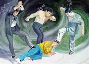 '中共酷刑示意图:殴打'