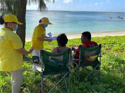 '图1~5:自二零二零年十一月中旬以来的每个周末,塞班岛法轮功学员举行征签活动,向民众传播真相'