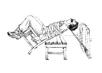 中共酷刑示意图:约束带捆绑