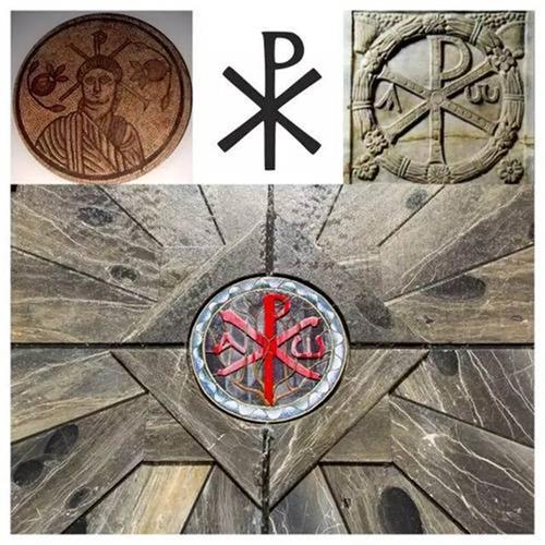 上图:君士坦丁的军队的凯乐符,Windows XP系统名称的灵感,即来源于这个符号。(公有领域)