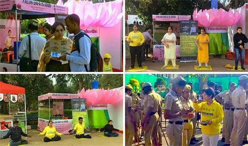 '图1:法轮功学员在班加罗尔市区的拉尔巴格(Lalbhag)植物园花展上传播法轮功的美好和真相。'