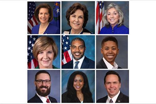 '图15:美国内华达州各级政要纷纷发了贺信及褒奖,欢迎神韵的到来(从左到右、上到下):联邦参议员凯瑟琳·科尔特斯·马斯托(Catherine
