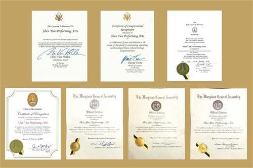 '图18:美国联邦、马里兰州和巴尔的摩市各级政要为神韵演出签发的部份褒奖和贺信。'