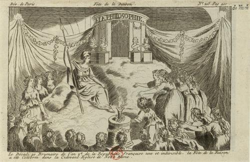 图例:蚀刻版画《理性节》(Fête de la Raison),15×9.5厘米,作者不详,作于1793年。