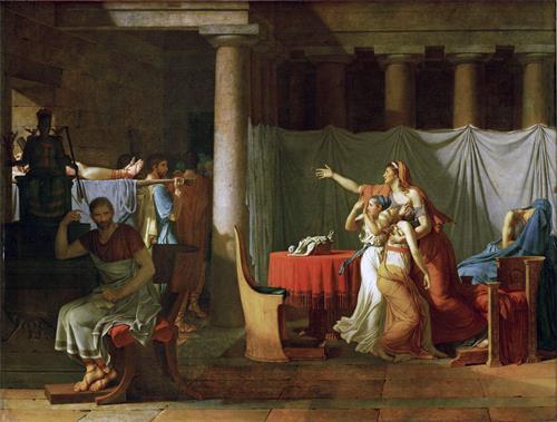 图例:油画《侍从给布鲁图斯带回他儿子们的尸体》(Les licteurs rapportent à Brutus les corps de ses fils),作者:大卫,作于1789年。