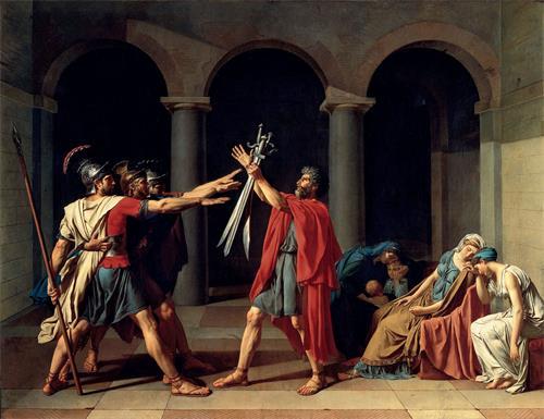 图例:油画《荷拉斯兄弟之誓》(Le Serment des Horaces),作者:大卫(Jacques-Louis David),作于1784年。