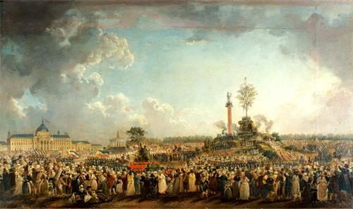 图例:油画《战神广场上的至上节》(Fête de l'Être suprême au Champ-de-Mars),作者:德玛希(Pierre-Antoine Demachy),作于1794年。