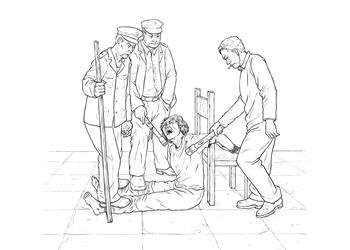 中共酷刑示意图:棒打、踩踢