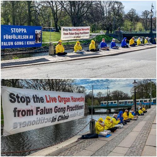 """图2:瑞典部份法轮功学员纪念""""四•二五""""和平上访二十一周年在哥德堡的中领馆对面反迫害"""
