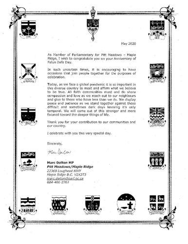 '图3:来自匹特草原-枫树岭(PittMeadows-MapleRidge)的国会议员MarcDalton的贺信'