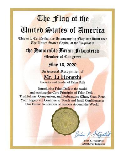 '图4:二零二零年五月十三日,菲茨帕特里克议员颁发褒奖令,特别表彰法轮大法创始人李洪志先生。'