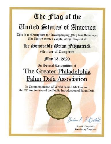 '图5:二零二零年五月十三日,菲茨帕特里克议员颁发褒奖令,纪念世界法轮大法日。'
