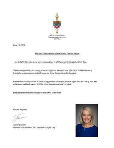 '图2:温哥华地区Cloverdale-LangleyCity选区国会议员塔玛拉·詹森(TamaraJansen)祝贺法轮大法日的贺信。'