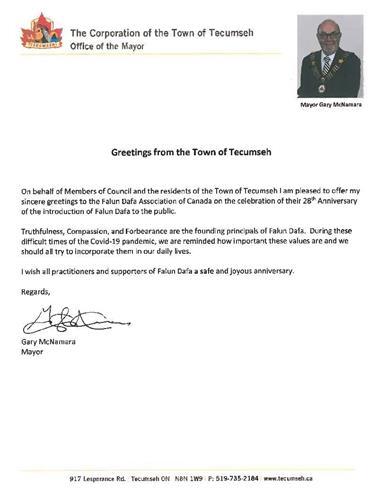 '圖5:特庫姆塞(Tecumseh)市的市長加裏·麥克納馬拉的賀信'