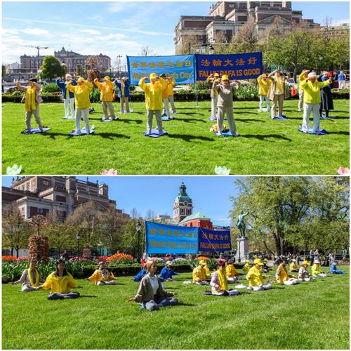 """'图1:瑞典法轮功学员聚集在首都斯德哥尔摩皇家花园,庆祝即将来临的第二十一届""""五一三世界法轮大法日"""",法轮功学员集体炼功、向世人展示功法。'"""