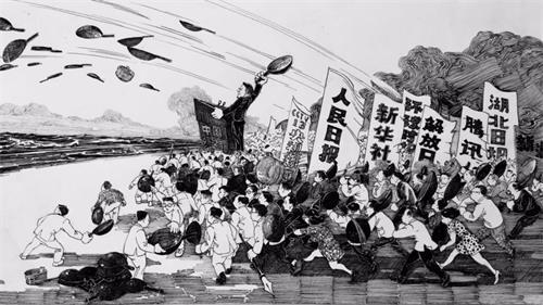 '图3:北京知名画家大车创作的漫画《甩锅》,讽刺中共掩盖疫情真相嫁祸海外(大车遭北京公安带走训诫)。'