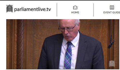 '图8:二零二零年七月二十日,国会议员吉姆·香农(JimShannonMP)在英国议会发言,提请英国政府关注中共对法轮功的持续迫害,英外交大臣表示深切关注。'