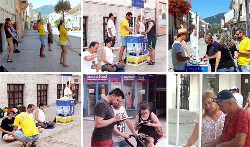 '图1~2:二零二零年八月二十二日中午,斯洛伐克学员来到了坐落在斯洛伐克西部的城市尼特拉(Nitra)设立<span class='voca' kid='62'>真相</span>点,传播法轮功的真相。了解真相后的民众纷纷签名支持制止迫害。'