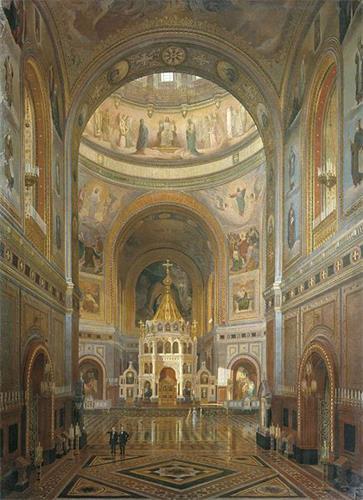 '图5 被苏共拆毁的全球最高的莫斯科基督救世主大教堂内部'