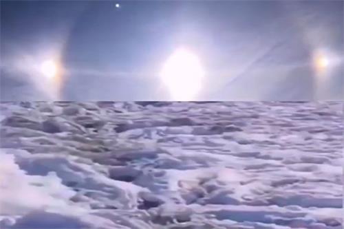 2020年10月15日黑龙江大兴安岭地区漠河市天空出现三个太阳。
