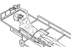 '酷刑:死人床与灌食(孙毅自绘)'