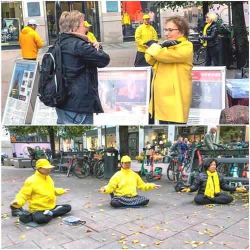 '图1:二零二一年十月一日下午,法轮功学员在斯德哥尔摩市中心附近的公共广场(Stureplan)举办讲真相活动,展示<span class='voca' kid='86'>功法</span>并征集反迫害签名。'