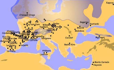 '图19:欧洲岩石壁画洞穴分布图'