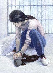 '中共酷刑示意图:手铐脚镣'