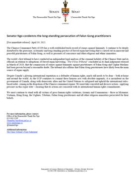 """'图:加拿大参议员吴蓝海(ThanhHaiNgo)在二零二一年的""""四二五""""前夕发表声明,支持法轮功学员,谴责中共迫害'"""