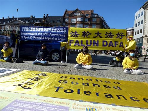 '图1~2:丹麦学员首都市中心纪念四二五和平上访二十二周年'