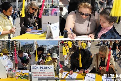 '图4~6:民众纷纷签名,支持法轮功学员反迫害。'