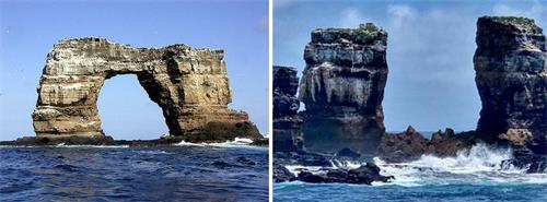"""'图:二零二一年五月十七日,厄瓜多尔环境部公布:""""达尔文拱门""""崩塌。左图是坍塌前的拱门。右图显示,该拱门仅剩下两根柱子。'"""