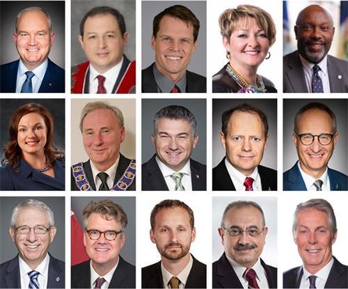 '图1:15位发来贺信和视频国会议员、省议员和市长。'