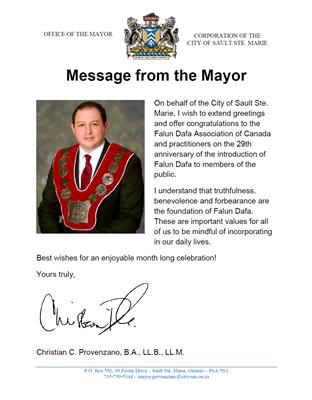 '图9:苏圣玛丽市市长克里斯蒂安·普罗旺斯诺(ChristianProvenzano)的贺信。'