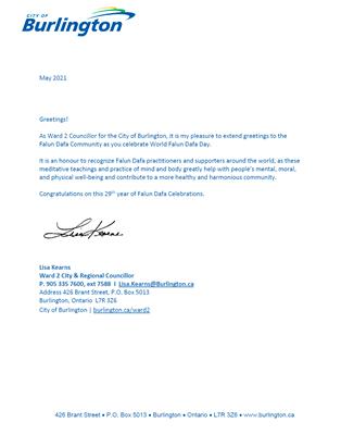 '图12:伯灵顿市第二选区议员卡瑞思(LisaKearns)的贺信'