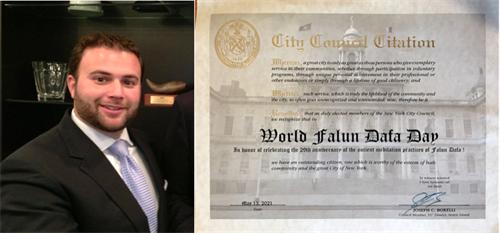 '图3:纽约市第五十一选区市议员约瑟夫·博雷利(JosephC.Borelli)祝贺世界法轮大法日。'