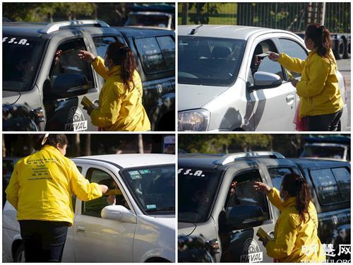 '图6~7:法轮功学员给停红绿灯的车辆派发真相资料,车里的人都很愿意要真相资料。'