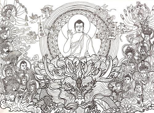 '图1:《师尊乘龙而来》,二零二一年五月一日,参加台湾学员排字庆祝师尊华诞暨世界法轮大法日活动,将天目所见的七彩光晕奇景绘制,以见证大法的超常与神奇。'