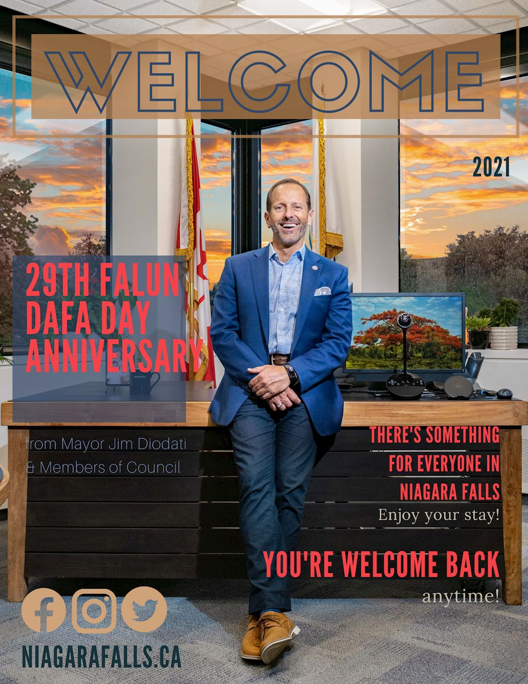 '图3:尼加拉瓜瀑布市长的祝贺海报。'