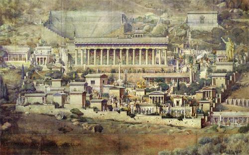 图: 法国建筑师图尔奈尔( Joseph Albert Tournaire)根据德尔斐(Delphi)的阿波罗神庙遗址所作的复原图,绘于1894年 。(网络图片)