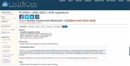 '图1:美国德州州长签署决议案SCR3,谴责中共强摘器官。'