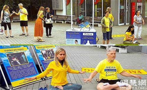 '图1:学员们在恰德察(Čadca)市中心讲真相传播法轮功'