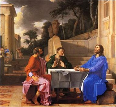 图例:法国画家德拉伊尔(Laurent de La Hyre)的油画《基督出现在以马忤斯路上的门徒面前》(L'Apparition du Christ aux pèlerins d'Emmaüs),作于1656年。画中耶稣的蓝色服装也是以青金石制成的群青色为基础绘制而成的。